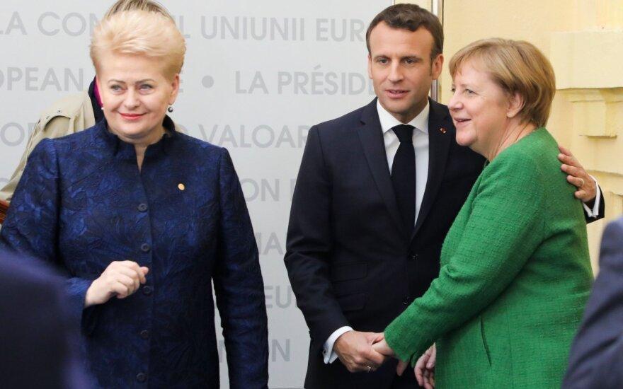 Dalia Grybauskaitė, Emmanuelis Macronas, Angela Merkel
