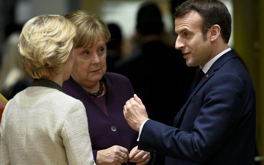 Ursula Von der Leyen, Angela Merkel, Emmanuelis Macronas