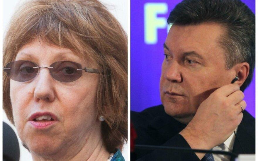 Catherine Ashton ir Viktoras Janukovyčius