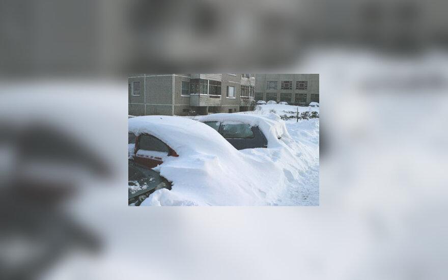Žiema, sniegas, mašinos