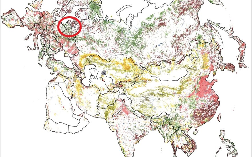 Žalia spalva rodo, kad Lietuvoje buvo atsodinta daug miškų
