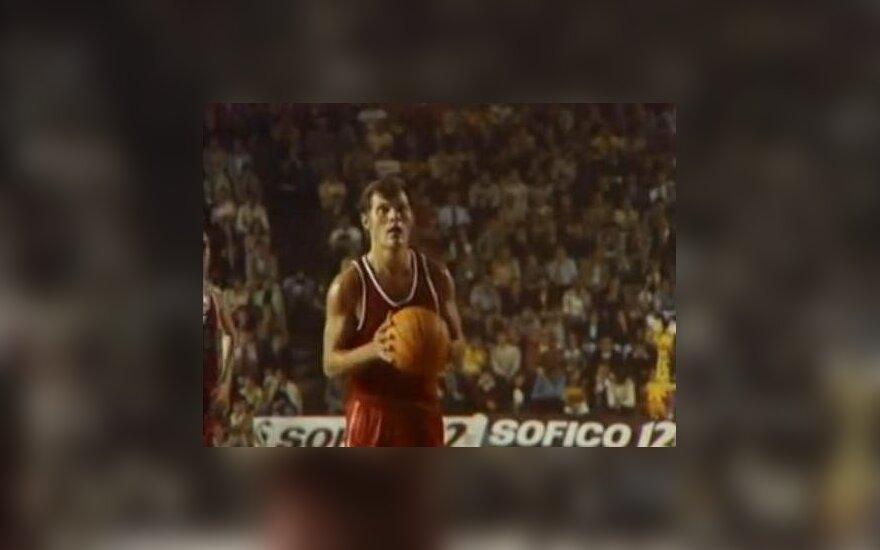 Modestas Paulauskas pictured on film at the 1973 EuroBasket in Spain.