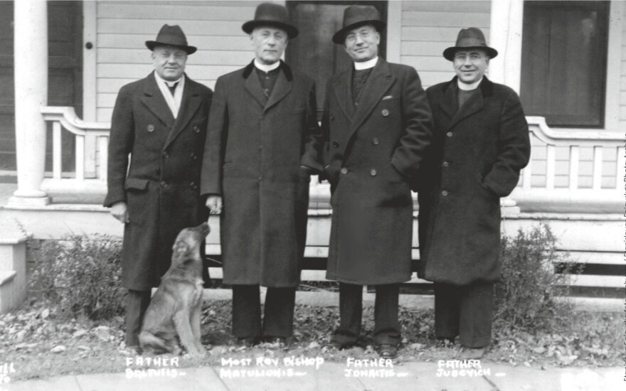 Blessed Teofilius Matulionis  in the USA in 1936. Second from the left