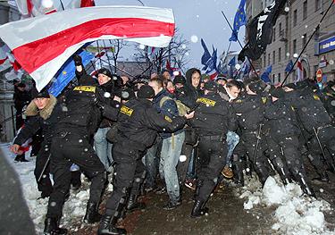 Minskas, mitinguotojų išvaikymas