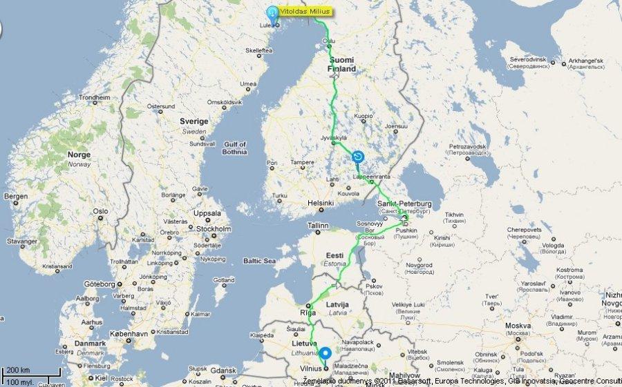 Danijos zemelapis atstumai