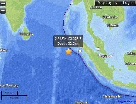 Žemės drebėjimas prie Indonezijos krantų, usgs.gov duomenys
