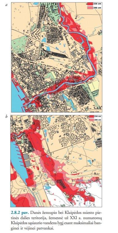 Danės žemupio bei Klaipėdos miesto pietinės dalies teritorija, žemesnė už XXI a. numatomąKlaipėdos sąsiaurio vandens lygį esant maksimaliai banginei ir vėjinei patvankai (Klimato kaita: prisitaikymas prie jos poveikio Lietuvos pajūryje)