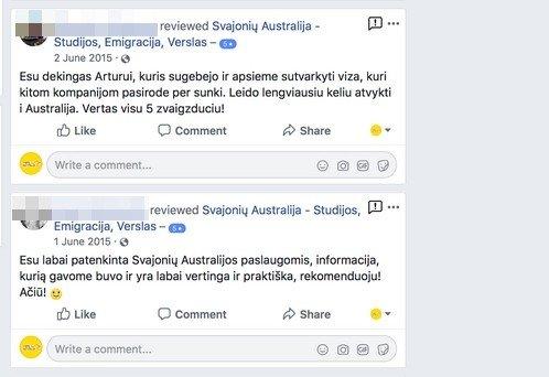 """Įmonės """"Svajonių Australija"""" feisbuko puslapio komentarai"""