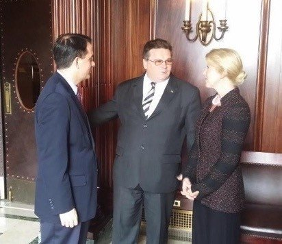 Leslie Ann Liautaud with Wisconsin Governor Scott Walker and Minister Linas Linkevičius