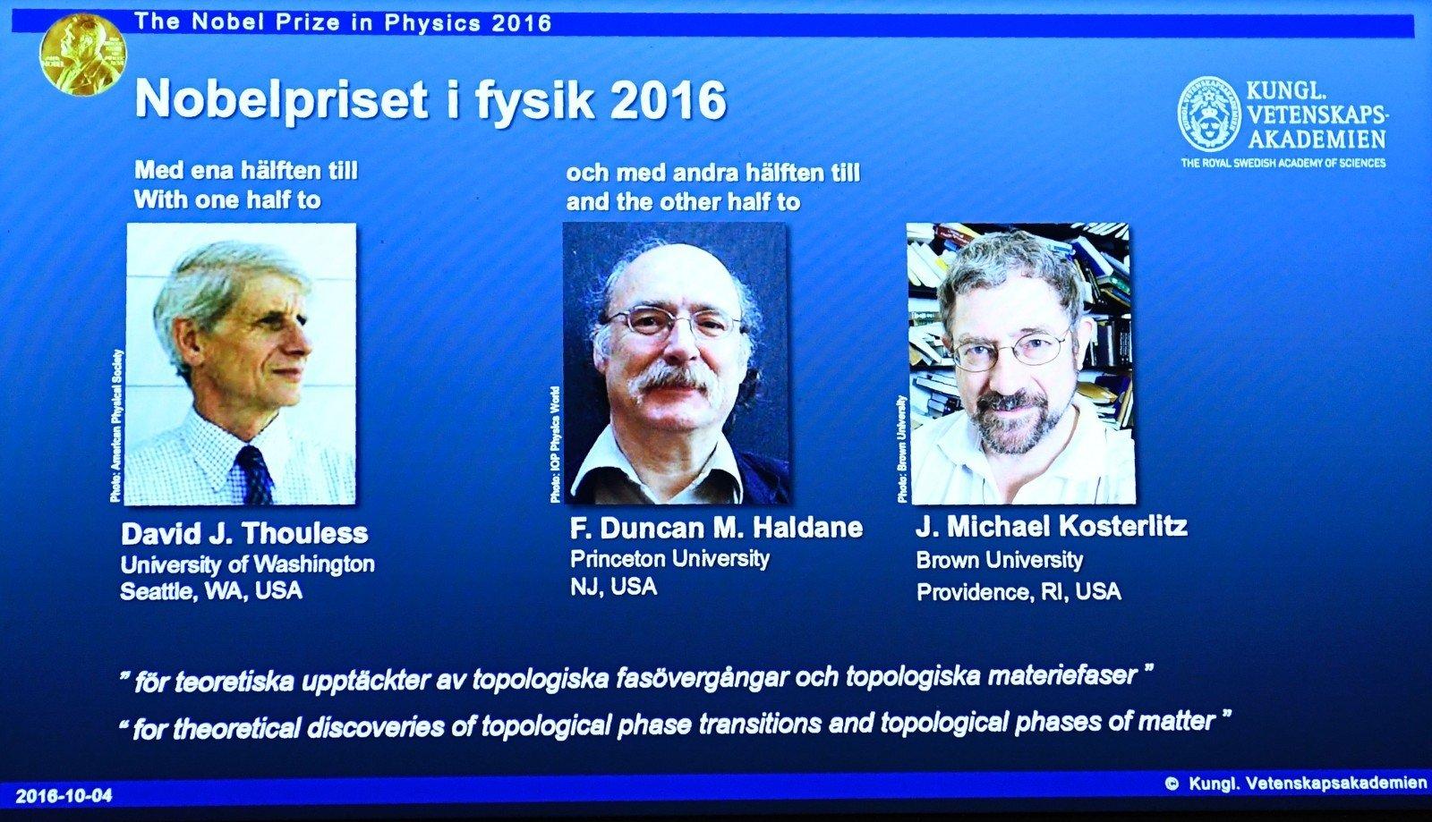 Английские ученые получили Нобелевскую премию пофизике