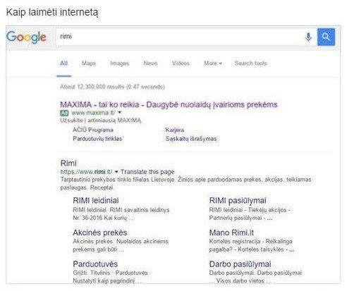 """""""Google"""" paieška: ieškai """"Rimi"""", randi """"Maxima"""""""