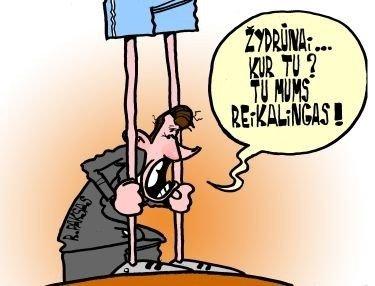 Rolandas Paksas ir Žydrūnas Ilgauskas - karikatūra