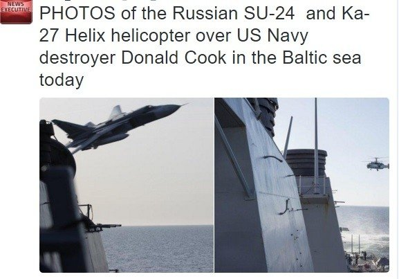 Russian jets swoop within metres of American warship in 'simulated attack' over the Baltic Sea