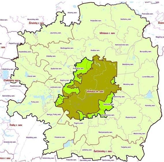 Vilniaus miesto darnaus judumo planu nagrinėjamą teritorija